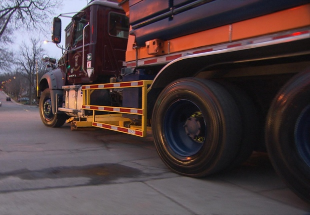 Westmount's heavy trucks have been equipped with side rails since Jessica Holman-Price's death 10 years ago. (CBC)