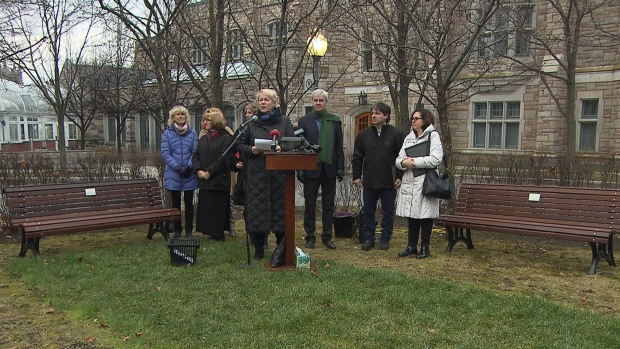 Westmount city officials unveil the benches in honour of Jessica Holman-Price at the Westmount Public Library on Sherbrooke Street West. (CBC)